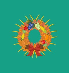 Harvest thanksgiving wreath vector image