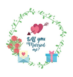 Just married hearts with arroe with romantic vector