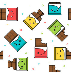 Kawaii cute chocolate colorful seamless pattern vector