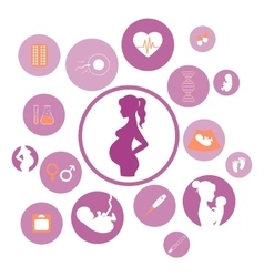 Medicine and pregnancy icons set vector