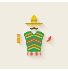 Mexican man with tequila and chili pepper vector image