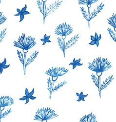 Pattern flowers aquarelle cornflower vector