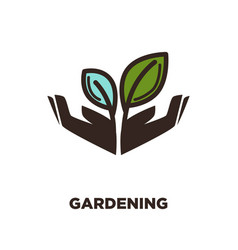 plant growing from open hands logo design two vector image vector image