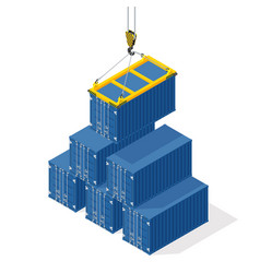 Pyramid of sea containers the top container vector