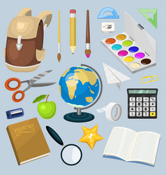 school supplies stationary educational backpack vector image