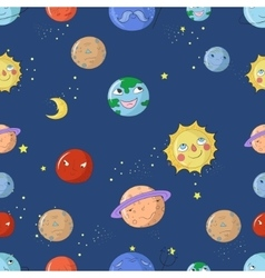 Seamless pattern cartoon planets vector
