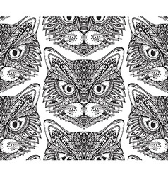 Seamless pattern with hand drawn ornate doodle cat vector