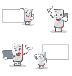 Set of flashdisk character with laptop phone and vector