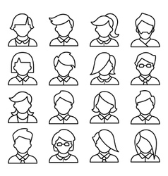 Set of icons men and women in a flat linear style vector