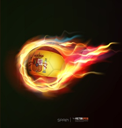 Spain flag with flying soccer ball on fire vector