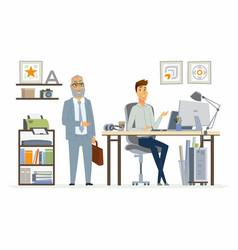 Supervising staff - modern cartoon business vector