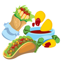 Taco enchilada nachos and salsa logo mexican vector