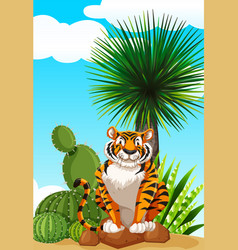 Tiger sitting in cactus garden vector