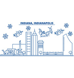 usa indiana indianapolis winter city skyline vector image