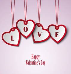 Valentine card with hanging hearts template vector image