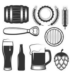 vintage beer icons symbols set vector image vector image