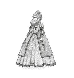 Vintage sketch gentlewoman vector