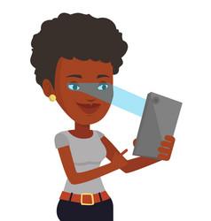 woman using iris scanner to unlock mobile phone vector image vector image