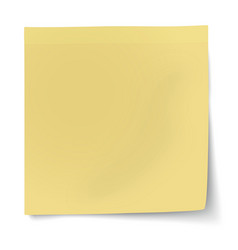 Yellow sticky note isolated on white vector image vector image