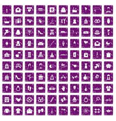 100 woman happy icons set grunge purple vector