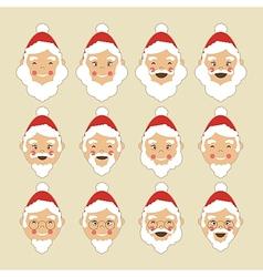 Santa Faces Set vector image