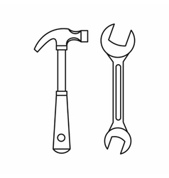 Hammer and wrench icon outline style vector