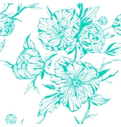Graphic seamless background with peony flowers vector