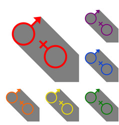 Sex symbol sign set of red orange yellow green vector