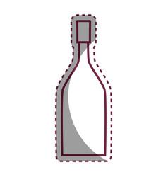 stiker wine bottle with glass beverage vector image