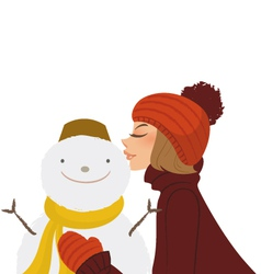 Girl kisses snowman vector