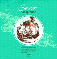 Hand drawn vintage sweet background vector image