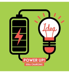 Light bulb idea charging battery power vector