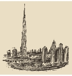 Dubai City Skyline Hand Drawn Engraved vector image