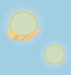 Hand with luminous sphere in eps vector