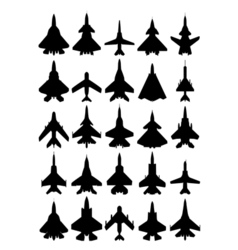 Modern airplanes silhouette set vector
