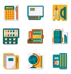 School supplies flat color icons vector