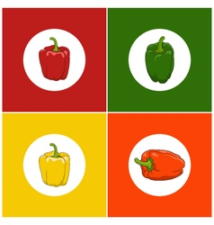 Set of icons pepper vector