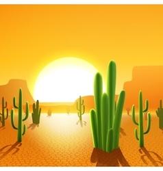 Cactus Plants In Desert vector image