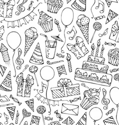 Hand-drawn seamless birthday pattern vector