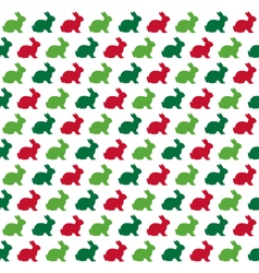 Seamless christmas pattern with rabbits isolated vector