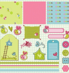 Baby scrap with ladybugs vector