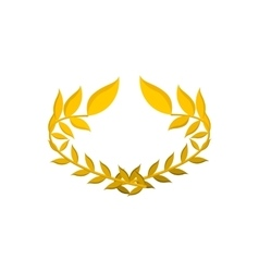 Gold laurel wreath cartoon icon vector