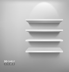 Empty white shelf vector