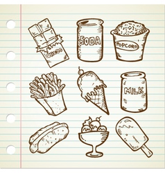 Snack doodle collection vector