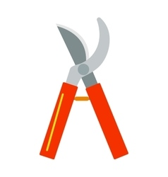Gardening scissors hand work and steel equipment vector