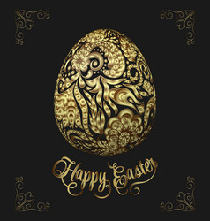 Abstract golden easter egg on black background vector