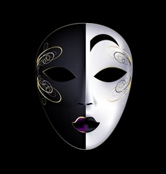 Black-white mask with purple vector