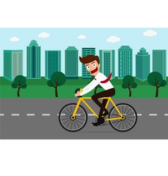 Businessman riding a bicycle in green city vector image