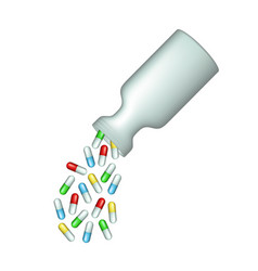 Capsule pills scattered from medical bottle vector