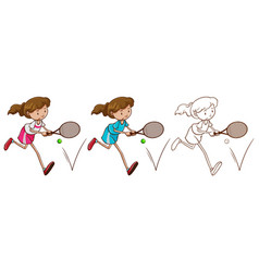 Doodle character for female tennis player vector